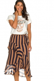 Munthe |  Striped midi skirt Dom | brown  | Picture 4