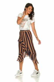 Munthe |  Striped midi skirt Dom | brown  | Picture 3