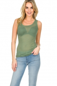 American Vintage |  Cotton tank top Massachusetts | green  | Picture 2