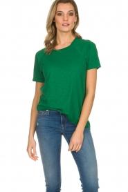 American Vintage | Katoenen T-shirt Lorkford | groen  | Afbeelding 3
