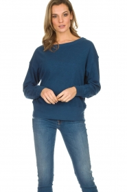 American Vintage |  Cotton basic sweater Sonoma | blue  | Picture 3