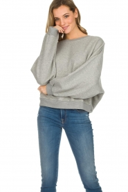 American Vintage |  Cotton oversized sweater Lokobridge | grey  | Picture 2