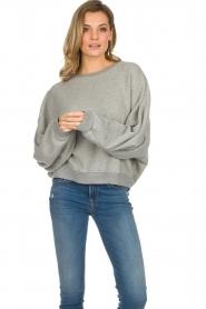 American Vintage |  Cotton oversized sweater Lokobridge | grey  | Picture 4