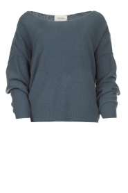 American Vintage |  Knitted sweater with wide neck Damsville | blue  | Picture 1