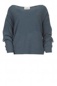 American Vintage | Gebreide trui met wijde hals Damsville | blauw  | Afbeelding 1