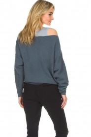 American Vintage |  Knitted sweater with wide neck Damsville | blue  | Picture 6