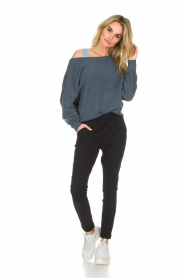 American Vintage |  Knitted sweater with wide neck Damsville | blue  | Picture 3