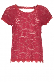 Rosemunde |  Lace top with low back Lieve | raspberry red  | Picture 1