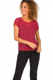 Rosemunde |  Lace top with low back Lieve | raspberry red  | Picture 3