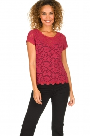 Rosemunde |  Lace top with low back Lieve | raspberry red  | Picture 2