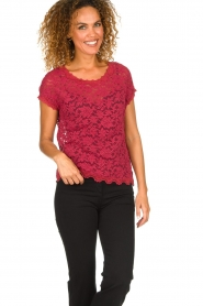 Rosemunde |  Lace top with low back Lieve | raspberry red  | Picture 4