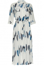 Freebird |  Maxi dress with feather print Victoria | white  | Picture 1