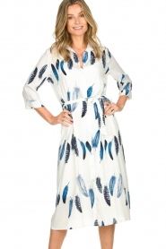 Freebird |  Maxi dress with feather print Victoria | white  | Picture 2
