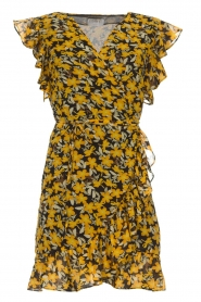 Freebird |  Floral wrap dress with ruffles Rosy Flower | yellow  | Picture 1