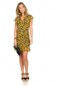 Freebird |  Floral wrap dress with ruffles Rosy Flower | yellow  | Picture 3