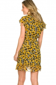 Freebird |  Floral wrap dress with ruffles Rosy Flower | yellow  | Picture 6
