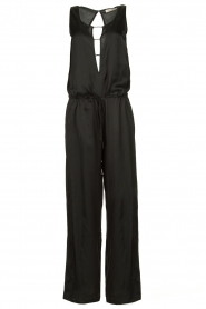 Rabens Saloner |  Jumpsuit with drawstring Greta | black  | Picture 1