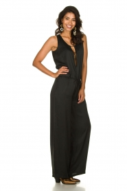 Rabens Saloner |  Jumpsuit with drawstring Greta | black  | Picture 2