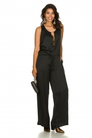Rabens Saloner |  Jumpsuit with drawstring Greta | black  | Picture 3