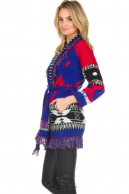 Les Galeries Neuf |  Cardigan with aztec print Nora | blue  | Picture 5