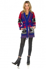 Les Galeries Neuf |  Cardigan with aztec print Nora | blue  | Picture 3