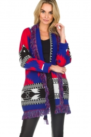 Les Galeries Neuf |  Cardigan with aztec print Nora | blue  | Picture 4