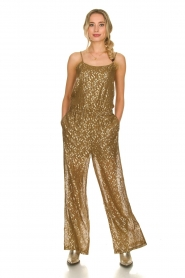 Rabens Saloner |  Jumpsuit with lurex Columbia | moss green  | Picture 2