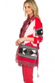 Les Galeries Neuf |  Cardigan with aztec print Nora | red  | Picture 5