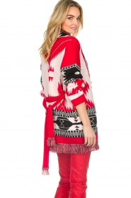 Les Galeries Neuf |  Cardigan with aztec print Nora | red  | Picture 6