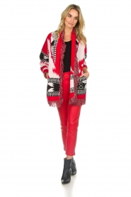 Les Galeries Neuf |  Cardigan with aztec print Nora | red  | Picture 3