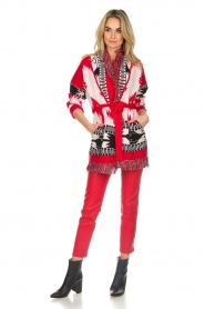 Les Galeries Neuf |  Cardigan with aztec print Nora | red  | Picture 4