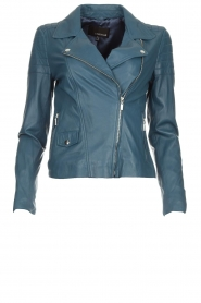 Arma |  Leather biker jacket Lesley | blue  | Picture 1