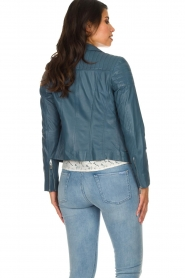 Arma |  Leather biker jacket Lesley | blue  | Picture 6