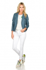 Arma |  Leather biker jacket Lesley | blue  | Picture 3