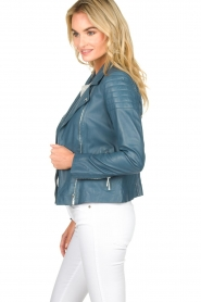 Arma |  Leather biker jacket Lesley | blue  | Picture 4
