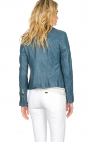 Arma |  Leather biker jacket Lesley | blue  | Picture 5