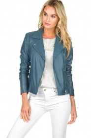 Arma |  Leather biker jacket Lesley | blue  | Picture 2