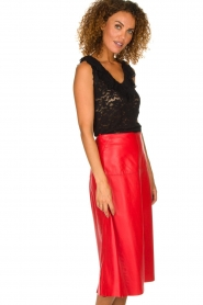 Arma | Studi Ar leather skirt Megan | red  | Picture 4