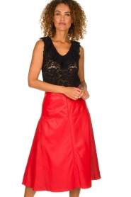 Arma | Studi Ar leather skirt Megan | red  | Picture 2