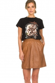 Arma |  Studio Ar leather skirt Mirte | brown  | Picture 2
