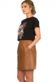 Arma |  Studio Ar leather skirt Mirte | brown  | Picture 4