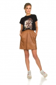 Arma |  Studio Ar leather skirt Mirte | brown  | Picture 3
