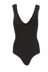 Becksöndergaard |  Swimsuit with ruffles and lurex Waffle | black  | Picture 1