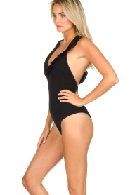 Becksöndergaard |  Swimsuit with ruffles and lurex Waffle | black  | Picture 3