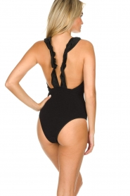 Becksöndergaard |  Swimsuit with ruffles and lurex Waffle | black  | Picture 4