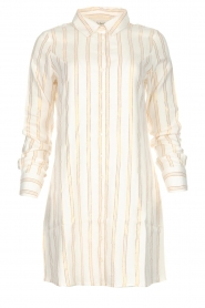 Les Favorites |  Lurex striped blouse dress Fiep | white  | Picture 1