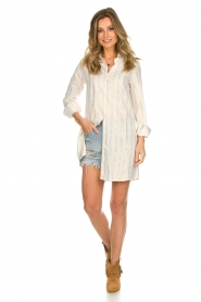 Les Favorites |  Lurex striped blouse dress Fiep | white  | Picture 3