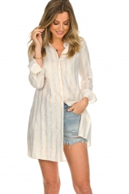 Les Favorites |  Lurex striped blouse dress Fiep | white  | Picture 4