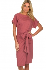 Les Favorites |  Cotton wrap dress Jolie | pink  | Picture 4