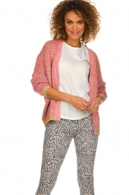 Les Favorites |  Knitted cardigan with glitter details Robbie | pink  | Picture 2